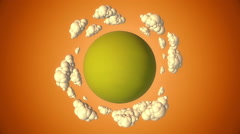 Cartoon green planet with flying clouds in evening Stock Footage
