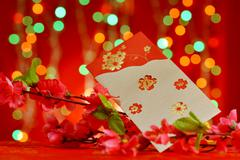 Chinese new year objects red packet and plum flower - stock photo