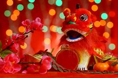 Chinese New Year design in red background - stock photo