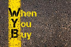 Accounting Business Acronym WYB When You Buy - stock photo