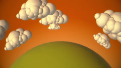 Cartoon green planet with flying clouds in evening - stock footage