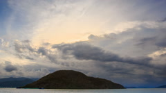 motion of white grey cumulus clouds above sea boats islands - stock footage