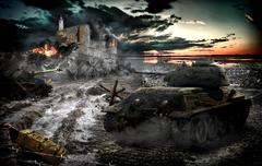 Battle tank scene in the light of the night sky Stock Photos