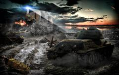 Tank attack captured the area in the light of the lighthouse Kuvituskuvat