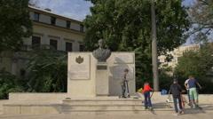 Children near King Mihai I Monument in Bucharest Stock Footage
