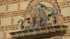 Sculptural decorations and paintings on Saint Anthony Church in Bucharest Stock Footage