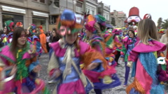 VENICE FEBRUARY 14 2015 Venice Carnival women dancing at the street parade Stock Footage