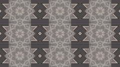Adorable geometric kaleidoscopic pattern with three lines of floral figures. - stock footage