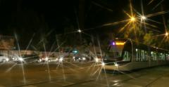 Tramway Nightlife in France Stock Footage
