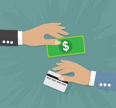 Change money credit card flat color Stock Illustration