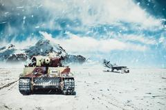 A moving tank on the background of combat aircraft in the winter season Stock Photos