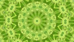 Artistic green and orange circle kaleidoscopic pattern in eco style. - stock footage