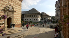 Tourists visiting Saint Anthony Church in Bucharest Stock Footage