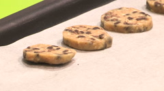 Raw chocolate chip cookies on a tray Stock Footage