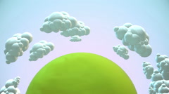 Cartoon green planet with flying clouds in morning Stock Footage