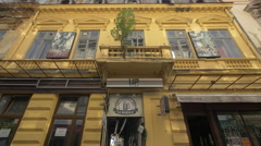 View of Up Club and La Mahala Pub in the old town of Bucharest - stock footage