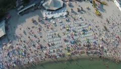 Aerial beach view with swimming people - stock footage