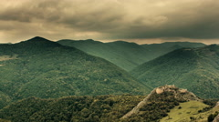 Lita fortress ruins, dark clouds Transylvania landscape time lapse 4K Stock Footage