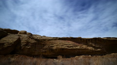 Time Lapse of Native American Cliff House in Moon Light -Tilt Up- - stock footage