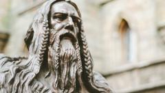 Viking statue near the castle Stock Footage
