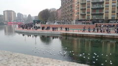 People walking on the darsena in Milan, Italy Stock Footage