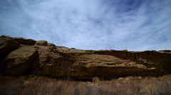 Time Lapse of Native American Cliff House in Moon Light -Pan Right- - stock footage
