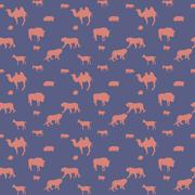 Silhouette of Wild and Domestic Animals. Seamless Pattern. Vecto - stock illustration