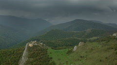 Thunder storm approaching Lita fortress ruins 4K Stock Footage