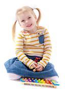 Girl in a Montessori environment Stock Photos