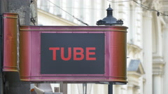 Tube sign in Bucharest Stock Footage