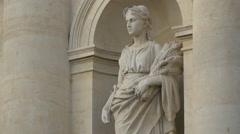 Woman statue holding ears of wheat in her hands in Bucharest Stock Footage