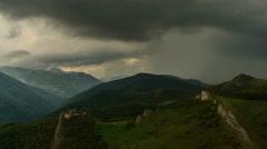 Rainstorm near Lita fortress ruins Transylvania landscape time lapse 4K Stock Footage