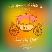 Vector wedding retro carriage with curls over colorful blurred background. - stock illustration