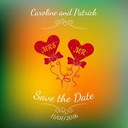 Vector wedding hearts MR and MRS on a stick over colorful blurred background. - stock illustration