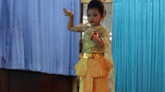 Cute girl in thai traditional costume in Loy Krathong Festival Stock Footage