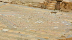 Ancient mosaics on stage of antique theater Central square in historical city Stock Footage