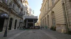 Stavropoleos Street with restaurants in Bucharest Stock Footage