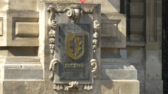 CEC Bank logo on a building in Bucharest Stock Footage