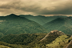 Lita fortress ruins, dark clouds Transylvania landscape time lapse 6K Stock Footage
