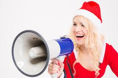Funny amusing woman talking in speaker Stock Photos
