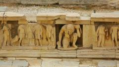 Remains of marble relief at ancient theater in Athens, place of tourist interest - stock footage