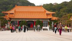 Taipei Martyr's Shrine main square, guards march towards Stock Footage