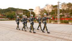 Honour guard troop slowly march, make brisk steps, loud boot stamp Stock Footage