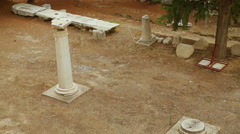 Antique marble columns standing in Peripatos, archaeological excavation site Stock Footage