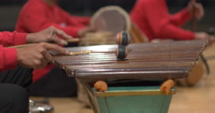 Indonesian musicians playing percussions Stock Footage