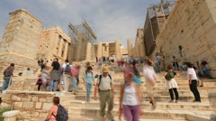 Stock Video Footage of Time lapse of many tourists viewing ancient Parthenon temple, summer vacation