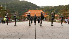 Honour guard change ceremony, soldiers hold rifle and change formation Stock Footage