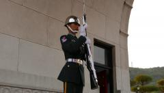 Honour guard face, soldier salute while set on post Stock Footage