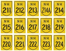 Stock Illustration of Collection of route shields of Indian National highways