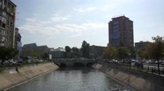 Bridge over Dâmbovița River in Bucharest Stock Footage
